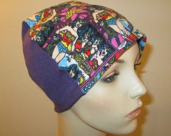 Wonder Woman Chemo Flannel SleepCap, Cancer Hat, Alopecia