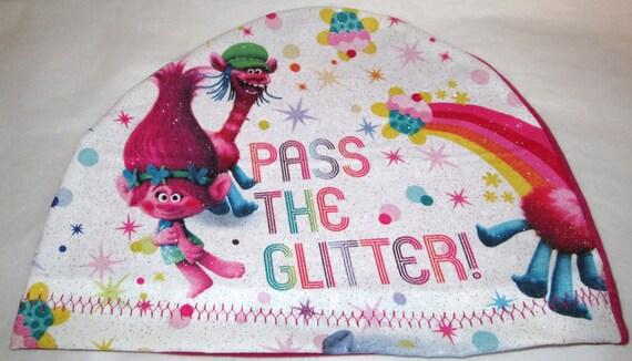 Kid's  Chemo Hat Trolls I Love Glitter Cancer Cap, Alopecia, Sleep Cap