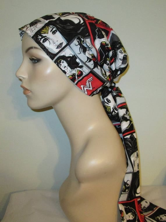 Wonder Woman Print Black White Chemo Scarf, Hat, Cancer Hat, Hijab, Alopecia, Head Cover