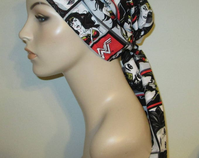 Featured listing image: Wonder Woman Print Black White Chemo Scarf, Hat, Cancer Hat, Hijab, Alopecia, Head Cover