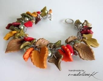 Autumn Charm Bracelet, Handmade Polymer Clay Bracelet, Nature Inspired Charm Bracelet, Autumn Jewelry