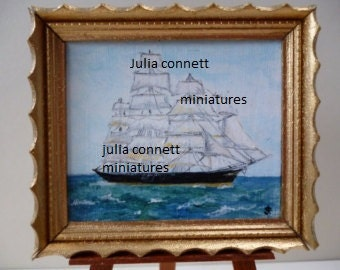 The Cutty Sark in full sail- Original Miniature Acrylic Painting ,One 12th scale.