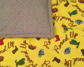 NEW handmade western retro round up cowboy flannel  baby quilt with rope print light blue back hats and cactus