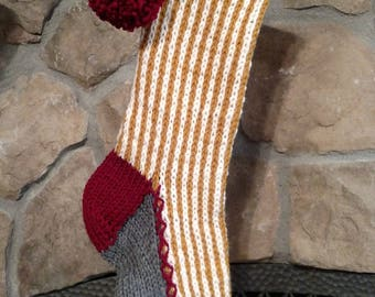 Old Fashioned Hand Knit Christmas Stocking Harvest Gold Soft White Vertical Stripe Fir Tree Detail SPECIAL