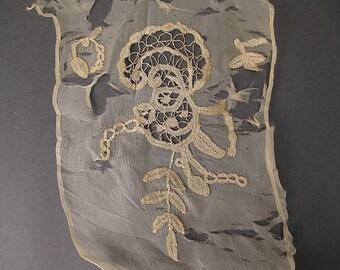 19th century Antique lace applique Victorian era