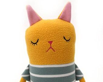 "Cat Sleepy Kitty in Pajamas ""Owen"" Cotton Monster Plush"