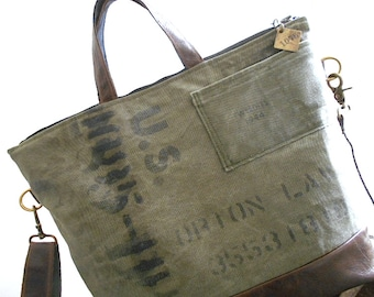 Leather & military canvas carryall, crossbody tote bag - eco vintage fabrics