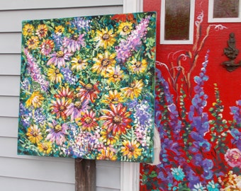Giant Floral Mural on canvas original expressive thick paint love gift perfect juicy dawn tarr signed dated unique nature energy statement