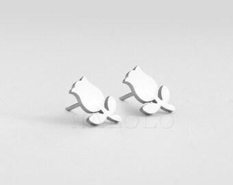 Flower Stainless Steel Earring Post Finding  (E45476)