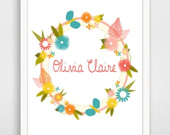 Personalized Name Print - Floral Garden Name Print - Pink Nursery Art - Pink Girl's Room - Wall Art