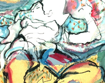 art print reclining figure expressionist lazy afternoon white blue red female nude