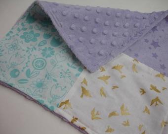 Spring Medley Four Square Baby Minky Burp Cloth 12 x 12 READY TO SHIP