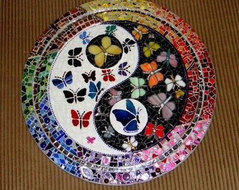 Yin Yang Butterflies stained Glass Mosaic Black White Multicolored