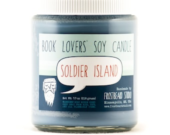 Soldier Island - Book Candle -  Book Lover Gift - Scented Soy Candle - Frostbeard Studio - Mystery - 8oz jar