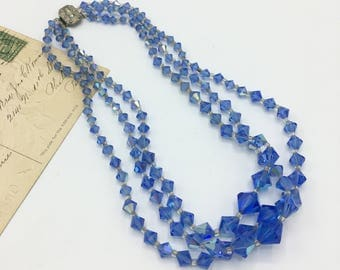 Vintage Triple Strand Necklace, Blue Glass Faceted Beads, Iridescent Blue Beads