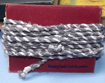 Fabric Twine-Fabric Cord-Fabric String-Fabric Rope Gray and White