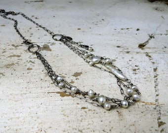 freshwater pearls & layered sterling chains adjustable length urban primitive necklace