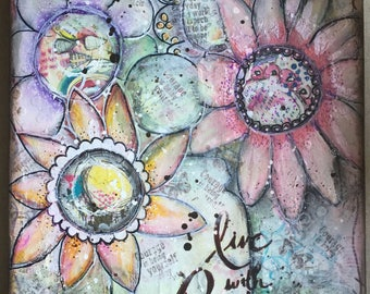 """Mixed Media Canvas  """"Live With Passion"""""""