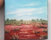 "Mini Oil Painting Desert Grass Landscape 3""x 3"" READY to SHIP"