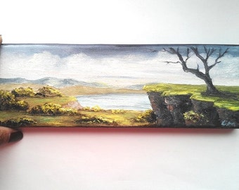 """Oil Painting Tree on Cliff 3"""" x 9"""" READY to SHIP"""