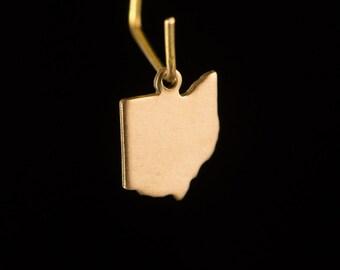 Raw Brass Tiny Ohio Blank State Charm Drops (6) chr228AA