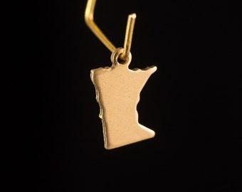 Raw Brass Tiny Minnesota Blank State Charm Drops 12x10mm (6) chr228RR