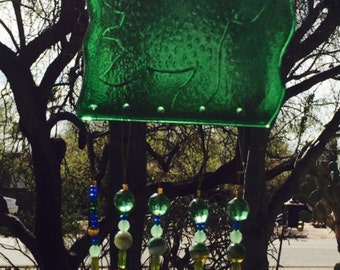Sea Turtle Windchime Green Glass