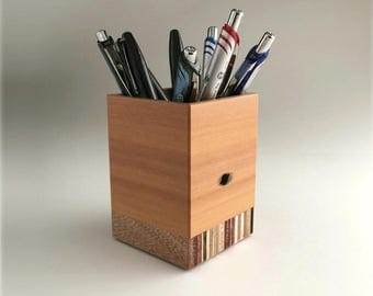 Reclaimed Wood Pencil Cup, Office Supplies, Square Pencil Cup, Wood Pen Holder