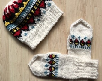 Hand-knit wool hat and mitten set -- Sami (Saami) design -- red, black, teal and yellow design on white background