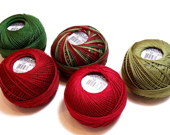 Tatting Thread, Lizbeth Size 10 Cotton Crochet Thread, Vintage Christmas Collection, Red and Green Thread