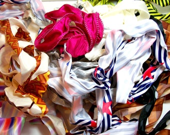 Wired Ribbon Scraps, Bag of Assorted Wired Ribbon and Trim Scraps x 1/2 pound, Ribbon Grab Bag