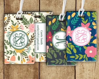 Monogram luggage tag, whimsy floral, suitcase tag, luggage tag