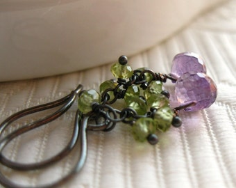 Small lilac purple amethyst onion briolettes with a chained cluster of green peridot on blackened sterling silver