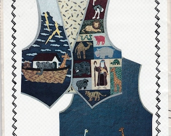Noah Ark Applique Vest Uncut Sewing Pattern Free US Shipping 1995 S~L
