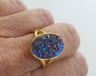 Titanium Drusy Adjustable Gold Metal Ring