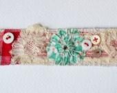 CUFF Bracelet.  Textile - hand stitched - French vintage fabrics - ooak