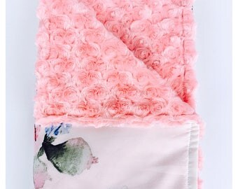 NEW SATIN FABRIC /  baby blanket, new satin print with minky swirls /  Floral print on white  background, gorgeous baby shower gift