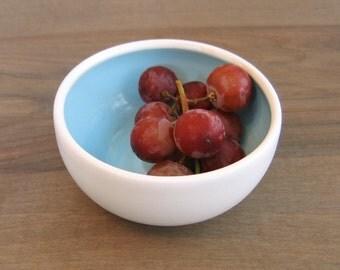 Small Prep Bowl, Lagoon Blue Stoneware Ceramic Pottery Bowl, Handmade Cat Food Bowl