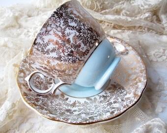 Vintage Teacup and Saucer Colclough Blue Gold English Bone China