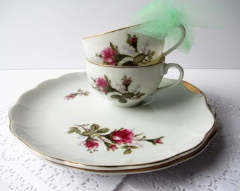 Vintage Teacup Luncheon Plate Set Nasco Del Coronado Pink Rose Snack for Two - Tea for Two
