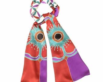 Silk scarf Handpainted, Flower of life, Mandala scarf, Luxury scarf, Hand made scarf, Floral scarf, Colorful scarf, Sacred geometry scarf