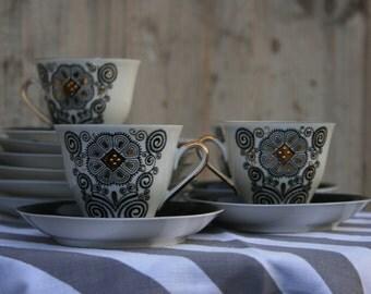 RIGA Porcelain fabric thin caffe set