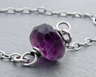 Minimalist Amethyst Necklace, Amethyst Birthstone Necklace, February Birthstone, Purple Gemstone, February Birthday, Sterling Silver, #4778