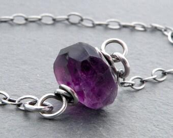 Faceted Amethyst Gemstone Necklace, Single Amethyst Necklace, Purple Gemstone, February Birthday, One Amethyst Bead, Sterling Silver, #4778