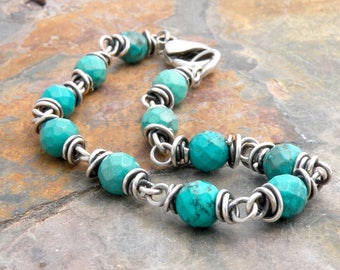Turquoise Bracelet for Women, December Birthstone, December Birthstone Bracelet, Sterling Silver Wire Wrap, Lobster Clasp 4745