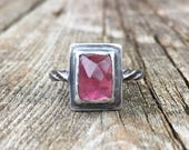 Oxydized sterling silver ring with pink rectangular rosecut tourmaline cabochon size 8 ready to ship