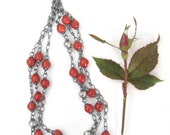 Reserved for Justine - red bamboo coral necklace, 3 strand necklace, oxidized silver necklace, 'sofia necklace'