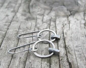 minimalist silver earrings, metalwork earrings, oxidized silver earrings, simple silver earrings