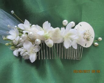 Beach Bridal, Hair Comb Bridal,  Swarovski Pearls and Crystals,  Handmade   with Pearls, Beach Wedding S01