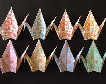 "8 Large Chiyogami Cranes - Flower Pattern (8  designs), 6"" (15 cm) Japanese Chiyogami Paper, Origami Paper Cranes, Handmade, Crane Bird"